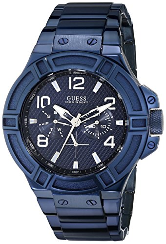 GUESS Men's U0218G4 Rigor Iconic Blue Plated Multi-Function Watch