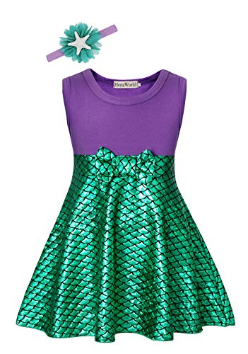 HenzWorld Princess Little Mermaid Ariel Costume for Girls Birthday Party Sleeveless Outfits with Acessories Headband 5-6 Years