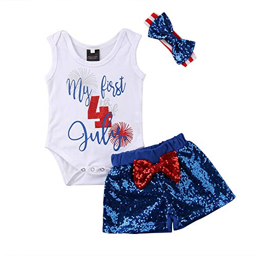 Infant Girl 4th of July Outfits Sleeveless Romper Tops + Sequin Shorts+ Headband 3Pcs Independence Day Clothes Set (White Tops and Blue Shorts,6-12 Months)