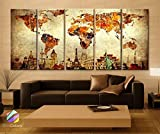 Original by BoxColors Xlarge 30''x 70'' 5 Panels 30x14 Ea Art Canvas Print Original Wonders of the World Old Paper Map Vintage Wall Decor Home Interior (Framed 1.5'' Depth)