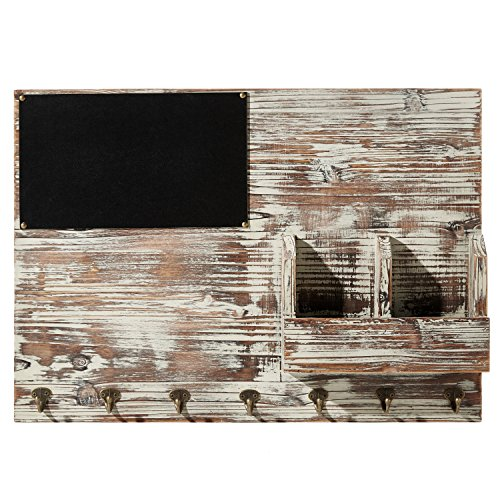 Mygift Torched Wood Wall Mounted Chalkboard Memo Clips
