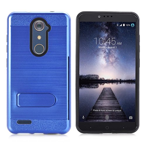 AutumnFall Slim Fit 2 in 1 Hard PC + Soft Silicone Hybrid Rugged Bumper Protective Back Cover Case for ZTE ZMAX Pro/ZTE Carry Z981 (Blue)