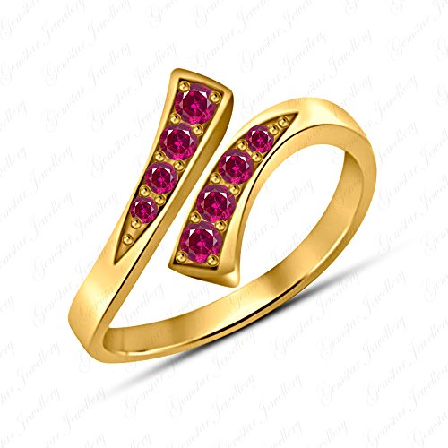 Gemstar Jewellery 18K Yellow Gold Finish Round Shape Red Ruby Prong Set Bypass Adjustable Toe Ring