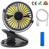 Clamp USB Fan, YF-TOW 3 Speed 360 Degree Tilt Desk Clip On Rechargeable USB Cooling Fan for Baby Stroller Kitchen Travel Car Office Desk