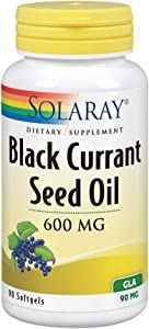 Solaray Black Currant Seed Oil 600 mg | Gamma Linolenic Acid (GLA) | Healthy Skin, Hair, Joints, Vascular & Immune Function Support | 90 Softgels