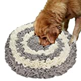"[Upgraded] Pet Snuffle Mat - Dog Nosework Snuffle Blanket,Feeding Mat for Dogs,Training Feeding Stress Release Pad,Activity Fun Play Mat for Relieve Stress Restlessness(18"" x 18"") (Gray&White)"
