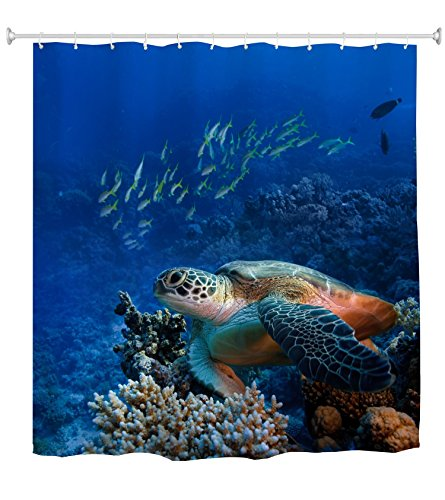 Turtle Shower Curtain, Sea Turtle with Fishes and Coral Reef Underwater Ocean Shower Curtain Set with Hooks Bathroom Accessories, 72 x 72 Inch, Colorful