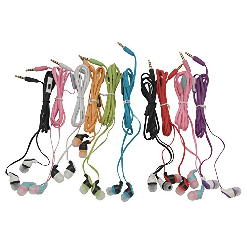 JustJamz Kidz 2.0 Color Call with Mic Stereo Earbud Headphones Mixed Colors – 10 Pack