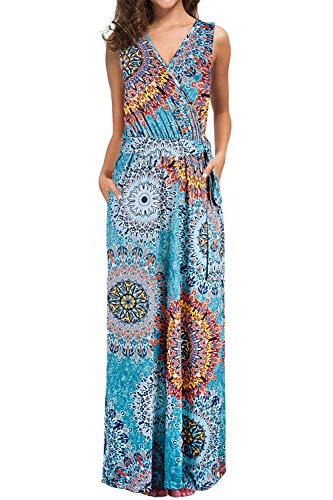 (Bloggerlove Women Bohemian Printed Wrap Sleeveless Crossover Maxi Dresses Casual Long Dresses with Pockets L)