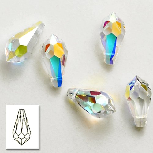 6 pcs 18mm Swarovski Crystal 6000 Teardrop Pendant Beads, Crystal AB