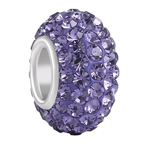 Aurora Charm 925 Sterling Silver JUNE Birthstone Charms Swarovski Elements Czech Crystal Alexandrite Lavendar Beads Spacers Fit Chamilia Bracelet ()