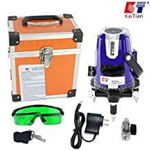 Kaitian Highly Visible Green Beam 5 Line 6 Point Rotary Lasers Cross Line Laser Level with Angle Adjustment Bracket