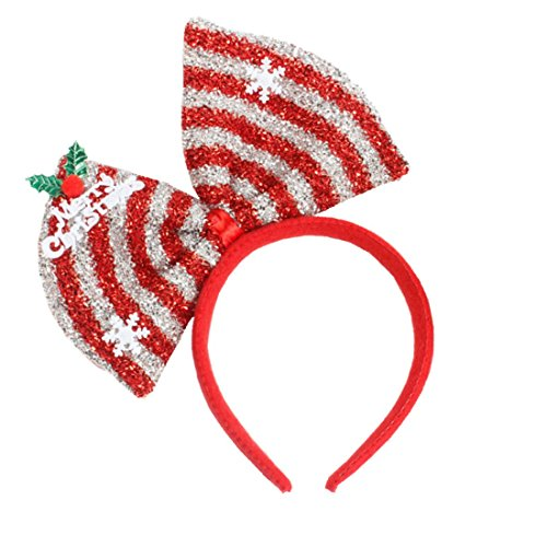 Hair Hoop Xmas Hair Accessory Headwear Colorful Bow Headband Christmas Holiday Party Supplies Gifts (Silvery) -