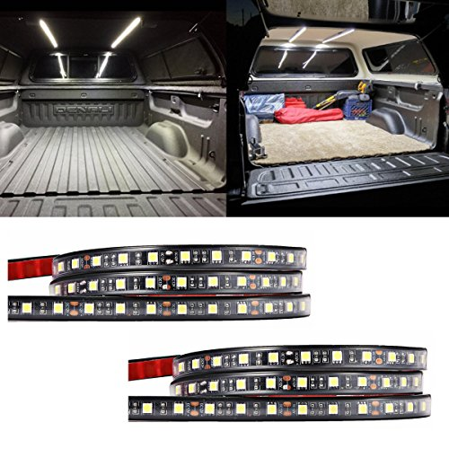 "AUDEW 2Pcs 60"" Truck Bed Light Strips Unloading Cargo Light with Waterproof -On/Off Switch Fuse 2-Way Plug-N-Play Splitter Lighting System for Pickup Truck, RV SUV, Boats, Ice House (Cool White)"