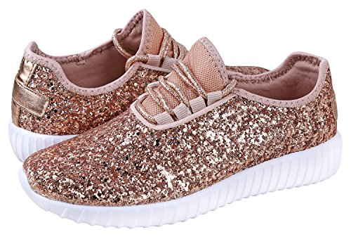 JKNY Kids Girls Fashion Metallic Sequins Glitter Lace up Sneakers Rose Gold 9 by JKNY (Image #4)