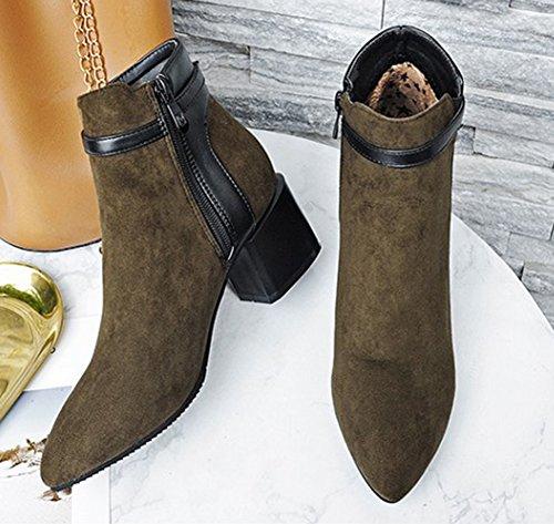 Talon Boucle Tige Chunky Aisun Pointu Vert Bout Bottines Courte Fashion Femme wqfBTY