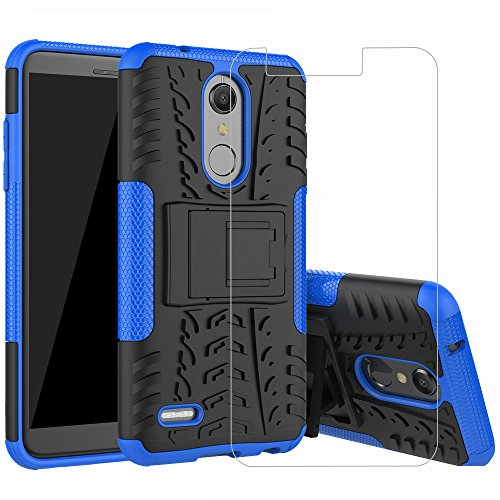 ase, ZHFLY [HEAVY DUTY] Tough Dual Layer 2 in 1 Rugged Rubber Hybrid Impact Protective Cover [With Kickstand] & 2.5D Tempered Glass Screen Protector for LG K10 2018, Blue ()