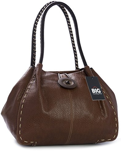 BHSL and Trendy Bag 2 Detail Elephant Designer PU Bag Large Womens Charm Button Boutique Dark Shoulder Dust With Grade Tan z U7wUx4nr