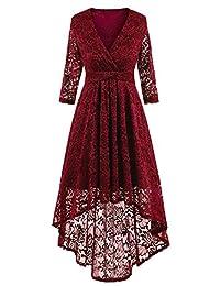 NALATI Women 1950s Vintage Deep V Neck High-Low Hem Lace Cocktail Party Dress