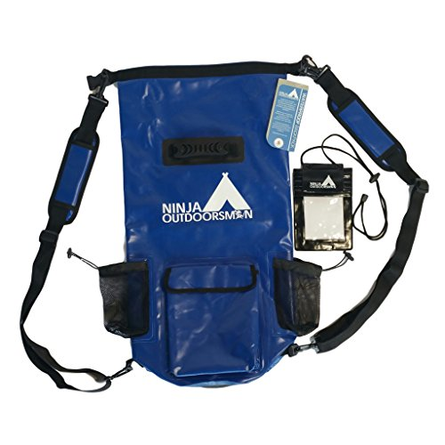 Ninja Outdoorsman 30L Waterproof Dry Bag Backpack and triple seal phone pouch for Kayaking Hiking (Nautical Blue) (60 Boat Oars)