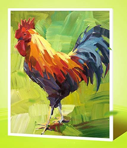 Superlucky DIY ölgemälde Bild by Zahlen mit Kits Zeichnung handgemaltes Bild Wall Decor Huhn hahn glücksverheißend, farbnummer 40x50cm Mit Rahmen B07K6KSRFG   Reichhaltiges Design