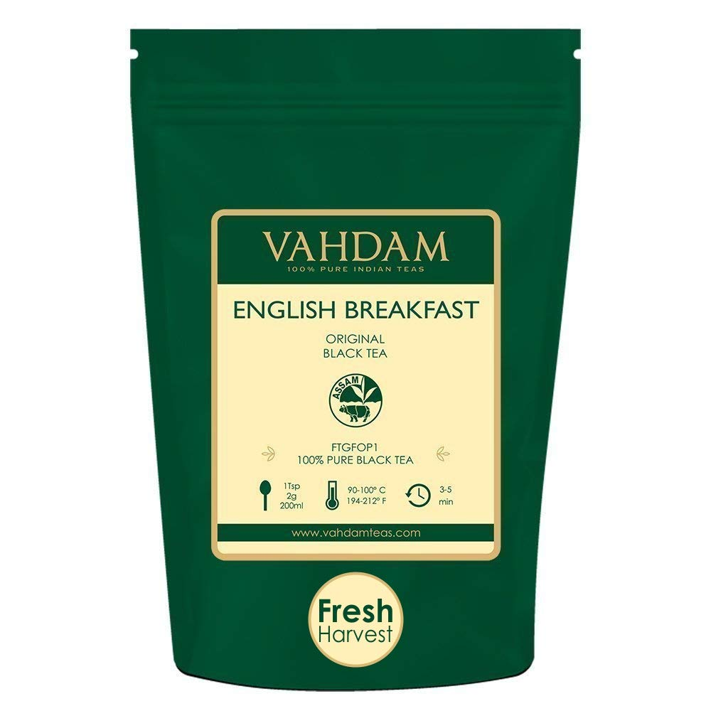 Original English Breakfast Black Tea Leaves (200+ Cups) STRONG, RICH & AROMATIC, Loose Leaf Tea, World's Finest Black Tea Loose Leaf - Brew Hot, Iced Tea, Kombucha Tea, FTGFOP1 Long Leaf Grade, 16oz by VAHDAM