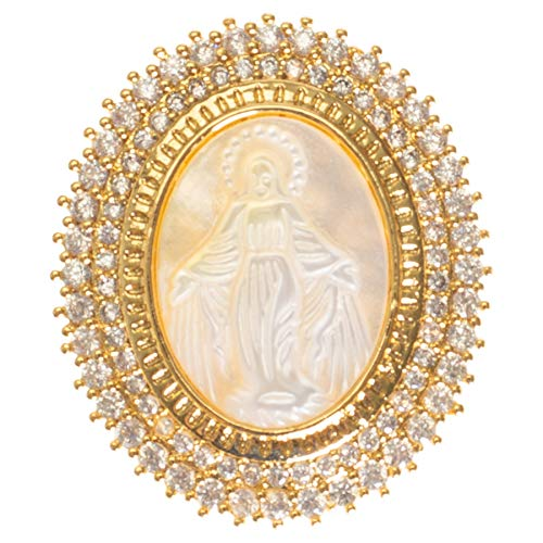 Roman Our Lady of Grace Oval Gold Tone 1 x 1 Brass and Glass Brooch Pin Pendant