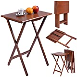Giantex Set of 4 Portable Wood TV Table Folding Tray Desk Serving Furniture Walnut