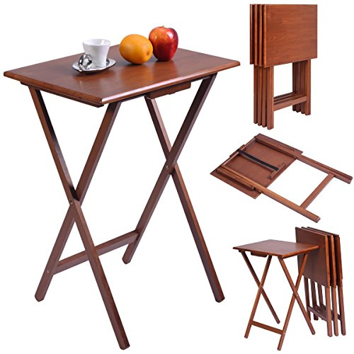 Giantex Set of 4 Portable Wood TV Table Folding Tray Desk Serving Furniture Walnut by Giantex