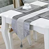 DELIBEST Table Runner, Stylish Atmosphere, Simple Modern Table Runner, Diamond, Noble & Luxurious (Grey, 12.6 * 98.4''(32 * 250cm))