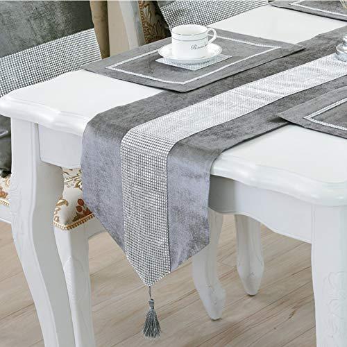 DELIBEST - Camino de mesa con estilo, camino de mesa simple y moderno, lujoso, seda sintetica, Gris, 12.6*70.9(32*180cm)