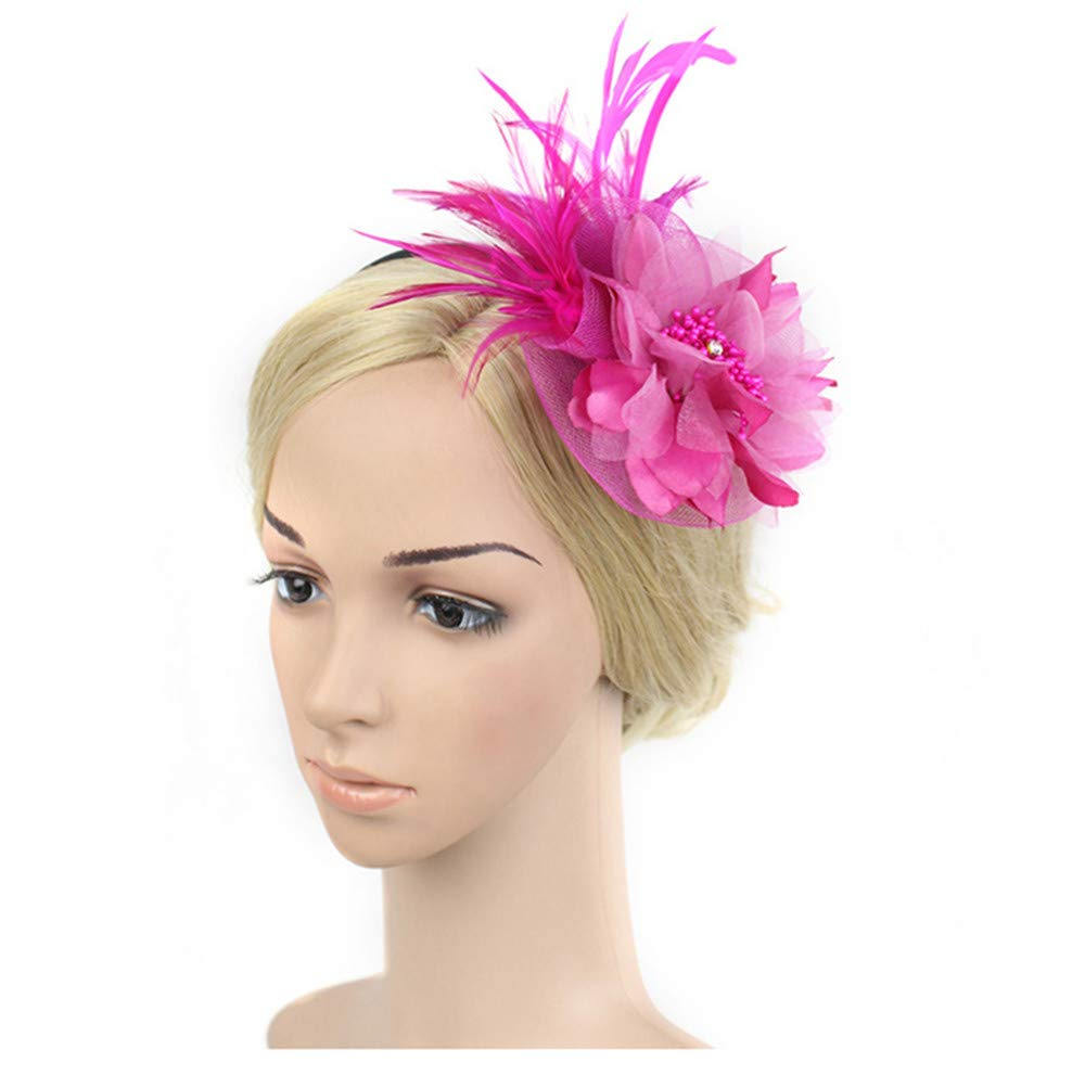 Black UKYLIN Charming Women Fascinator Feathers Flower Hat Women Fascinator Headwear Cocktail Hat Head Decoration