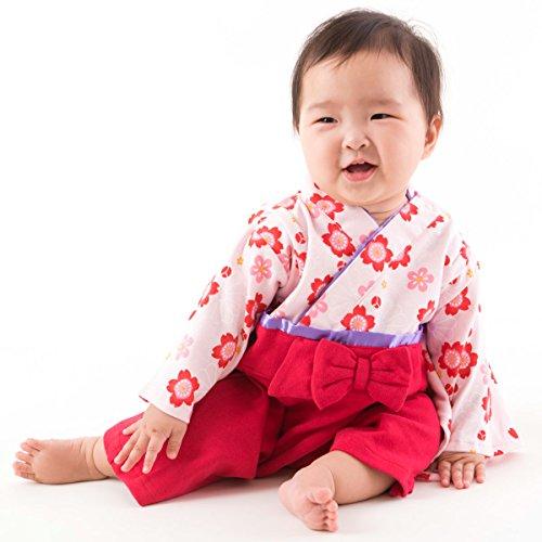 - FUN fun Baby Girls' Japanese Kimono Rompers Hakama Coverall 3-12 Months Red
