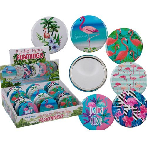 Compact fenicottero specchio tascabile da viaggio, borsetta trucco regalo bellezza elegante Summer Exclusive New OOTB