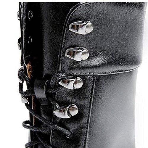 Femmes Bout BLACK Hiver BOTXV Automne Bottes Bottes Peluche Haut Stiletto Courte Fine Couture Boutons Taille Artificielle Et Courtes Pointu 42 De en Grande Talon À Lacets Métal Oxq4fzqnwd
