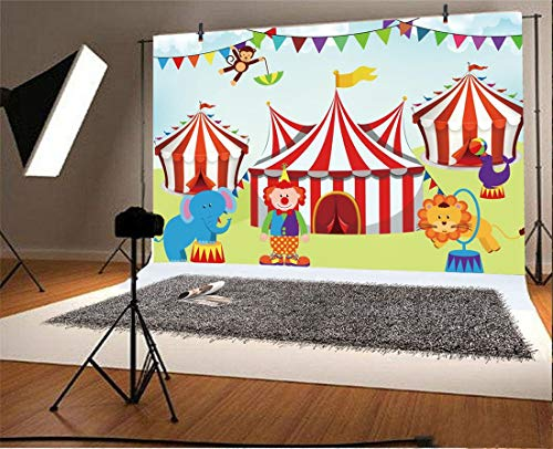 (Yeele 10x8ft Photography Background Cartoon Circus Clown Animals Kids Birthday Party Baby Shower Children Portraits Preschool Children's Day Activity Toddlers Photo Booth Backdrop)