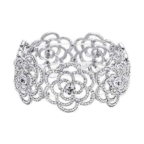 (BriLove Women's Wedding Bridal Crystal Hollow Flower Tennis Stretch Bracelet Clear Silver-Tone)