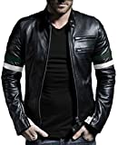 Laverapelle Men's Genuine Lambskin Leather Jacket (Black-Green-White, 5XL, Polyester Lining) - 1501535