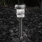 Pure Garden 50-129 Stainless Steel Solar Powered LED Path Light (Set of 4)