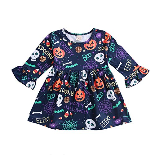 Toddler Baby Girls Halloween Clothes Pumpkin Spooky Cartoon Print Skirt Halloween Dress Outfit (Baby Girls Halloween Dress, 6-12M) ()