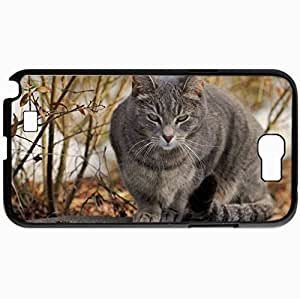 Personalized Protective Hardshell Back Hardcover For Samsung Note 2, Autumn Cat Gray Sitting Design In Black Case Color