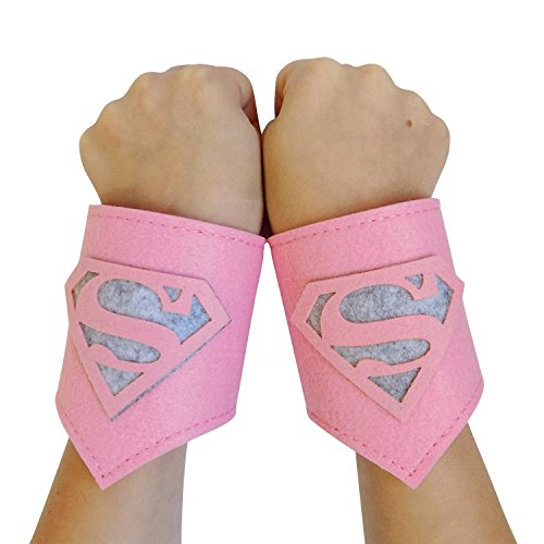 [So Sydney Superhero or Princess WRIST BANDS Kids Childrens Toddler, Boy, Girl (Supergirl - Pink &] (Baby Girl Marvel Costumes)