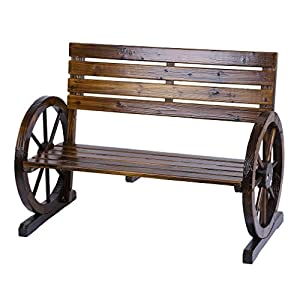 Homgrace Patio Garden Wooden Wagon Wheel Bench, Rustic Wood Design Outdoor Wagon Wheel Bench Outdoor Furniture Decor (Tan color)