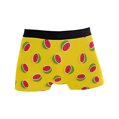 15054c839fa9 Image Unavailable. Image not available for. Color: Mkuell Watermelon Yellow Comfortable  Men's Boxer Briefs Multi-Size Soft Underwear S
