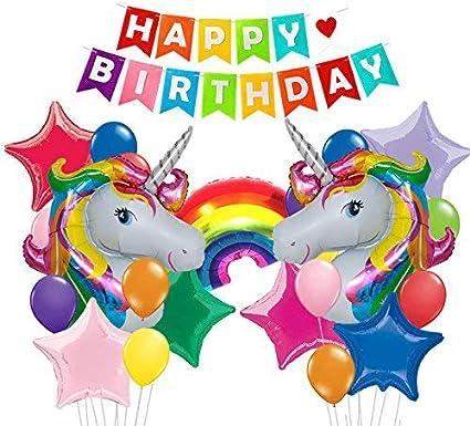 Amazon.com: 25 unidades colorido feliz cumpleaños Banner y ...