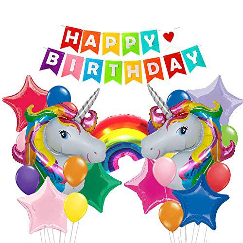 25Pack Colorful Happy Birthday banner &32 inch Unicorn balloons Bright Rainbow Stars Foil balloon For First birthday party decorations Baby shower Unicorn party supplies (colorful)