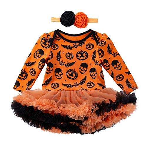 MOONHOUSE Toddler Kids Baby Girls ❤️❤️ Halloween Cosplay Pumpkin Printed Bow Romper Jumpsuit Costume Party Dress Set (3-6 M, Yellow)