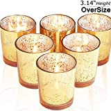 "lEPECQ Wedding Decor Votive Candle Holders, Speckled Gold Votive Holders Gift Set, Wedding Centerpieces, Mercury Glass Tealight Holders for Birthday, Dinning Table Decorations, 3.14""H(Set of 6"