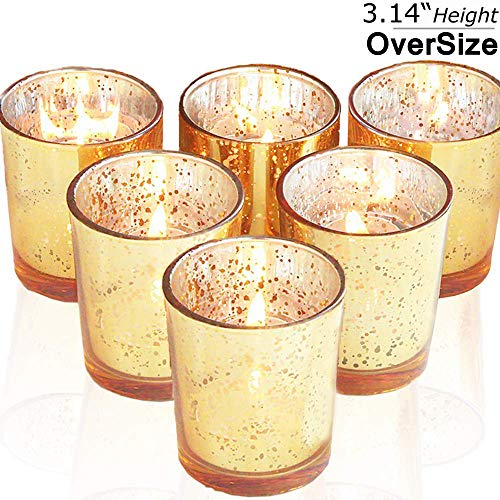 "lEPECQ Mercury Glass Votive Candle Holder 3"" H (Set of 6, Speckled Gold),Mercury Glass Votive Tealight Candle Holders for Home Decor,Weddings and Party"