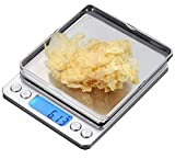 CestMall Stainless Steel Digital Kitchen Scales(500g 0.001oz/0.01g) High Precision Digital Pocket Scales Mini Protable Food Scales Jewelry Scales with 2 Removable Trays